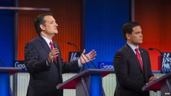 Ted Cruz y Marco Rubio en los debates del Partido Republicano.