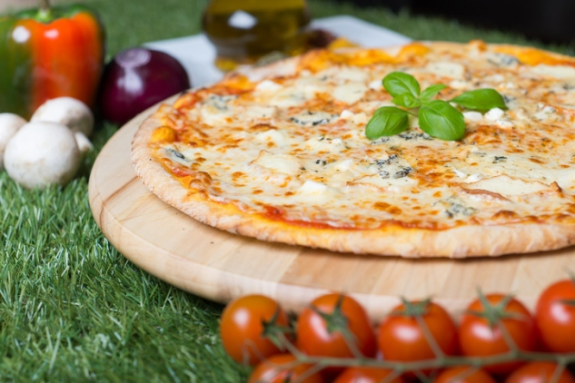 Pizza with four types of cheese,
